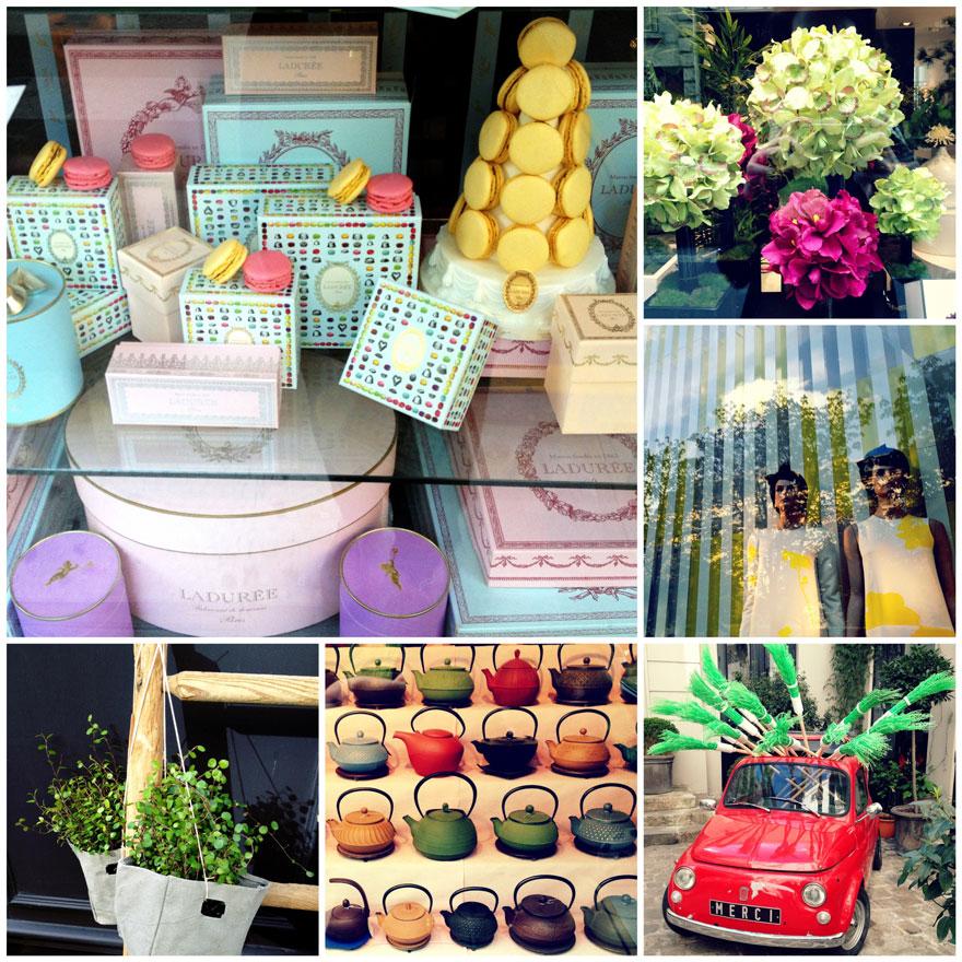 Clockwise from top left: Ladurée, St-Germain florist, Louis Vuitton, Merci, St-Germain tea shop, Marais florist